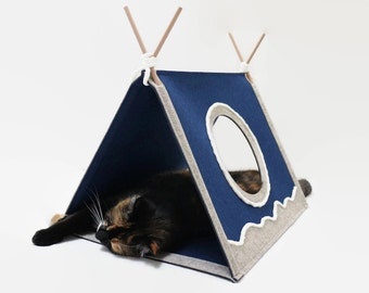 Cat house  Cat toy Modern cat furniture Triangle cat house Cat bed Cat teepee Play house
