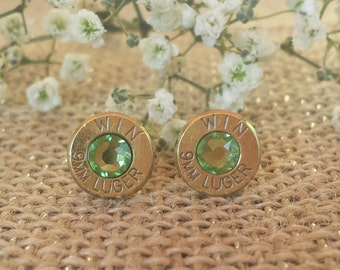 Green Medow 9mm Winchester Bullet Stud Earrings