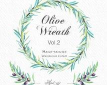Olive Wreath Vol2/Watercolor Floral Clip Art/Hand-painted WaterColor Clip Art/DIY Invitations/Digitals Clip Art