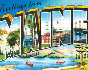 Maine, Maine Postcard, Travel Postcard Maine, Vintage Postcard Maine, Maine Postcards, Maine Art, Maine Travel Postcard, Travel Postcards