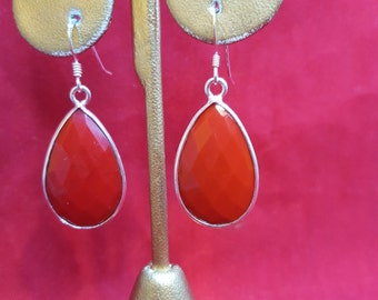 Sterling Silver Earrings.Faceted Red Coral Earrings.Drop Earrings.Tear Drop Earrings.Dangle Earrings.Wedding Earrings Bridal Gifts.E61