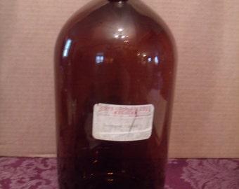 Large, Vintage, Amber, Brown, Glass, Bottle, Pharmacy, Medicine Bottle, One Gallon, (# 133/9)