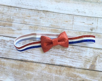 Red 4th of July Bow Headband/Patriotic Bow Headband/Baby Headband/Infant Headband/Newborn Headband/Patriotic Headband/Red Bow Headband