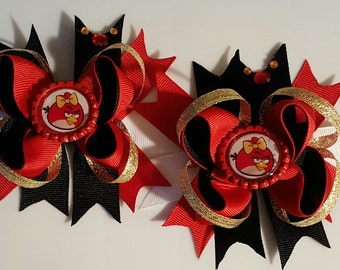 Angry Bird Girls Hair Bows.  Set Of 2