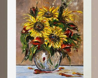 Art Print - Sunflowers and Poppies