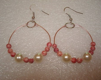 Pink Wire With Pink Swirled Beads And Ivory Pearl Beads Hoop Hook Earrings