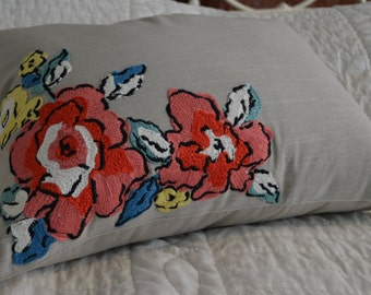 Khaki with Embroidered Spring Flowers Decorative Pillow
