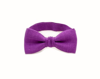 Purple Bow Tie Baby Wedding Outfit First Birthday Wedding Bowties Grooms Pocket Square Son Father Matching Christmas Gift