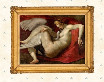 Rubens painting - Leda and the Swan, after a lost painting by Michelangelo .Renaissance Painting, Famous Art, Wall Art Print, Canvas Paper