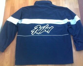 FUBU jacket, vintage Fubu windbreaker, 90s hip-hop clothing, 1990s hip hop, OG, gangsta rap, blue color Fubu jersey, size XL