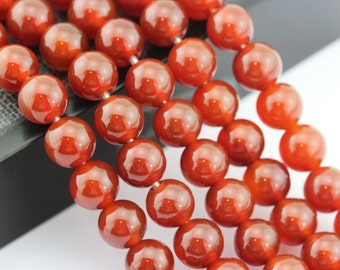 2.0mm Large Smooth Red Agate/Carnelian 8mm/10mm Semi-Precious Gemstone Loose Beads Approximate 15.5 Inch.R-S-L-AGA-0006