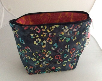 Handmad small project/tote bag ( hand painted fabric)
