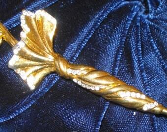 umbrella brooch. gold tone/diamante costume jewellery, bling