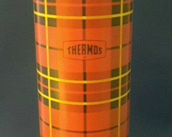 Vintage 1964 King Seeley 13.5 inch Plaid Metal Thermos 2442