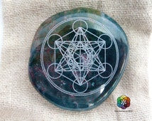 Metatron's cube - Engraved Jasper Heliotrope - Engraved Stone - Crystal Healing