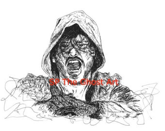 """Original Art WWE AJ Styles NJPW Bullet Club Limited Edition of 50 Artist-Signed & Numbered Ink Drawing 8.5"""" x 11"""" Print"""