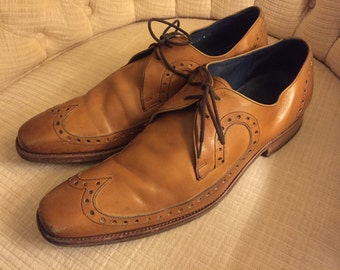 Barker saddle tan leather brogues oxfords wingtips shoes laceup size 9 F great condition ****