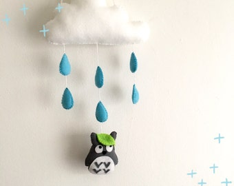 Totoro rain cloud with blue raindrops baby mobile wall hanging