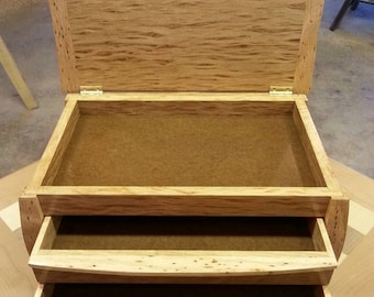 Handmade Wooden Jewelry  Box With Two Drawers