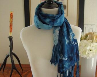 Shibori & Batik scarf, natural indigo dyed, Blue scarf, BATIK beeswax technique, cotton scarf, hand made scarf, scarf with tassels, HM024