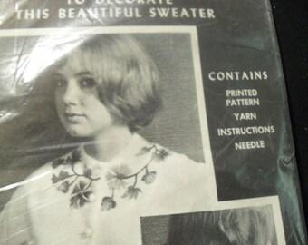 Vintage Crewel Embroidery Kit with Wool Yarn
