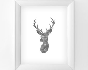 Deer print Printable wall art Home decor Elegant Grey Deer Digital Art Instant Download print