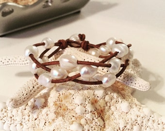 Freshwater nugget pearl bracelet