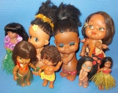 Book Featured:  Eight *8* Hawaiian Souvenir Dolls, Female, Male, Circa 1960s-1990s