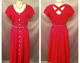 SALE!!!! Vintage Red and White Polka Dot Tea Dress