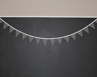 Dark Gray and White Triangle Mini Pennant Bunting