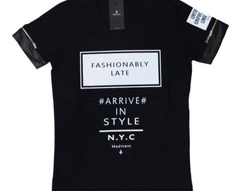 model # e30 fashionable black stamped men's t-shirt,sizes-S,XXL