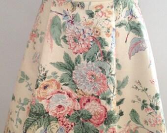 Cream vintage floral skirt, summer skirt,  vintage fabric skirt, bridesmaid skirt, romantic skirt, vintage skirt,
