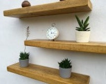 Chunky Rustic Floating Shelf Shelves inc fixings  20cm deep 4.5cm thick, various sizes upto 5 foot Length