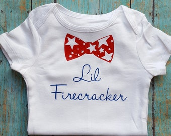 Fourth of July Infant Bodysuit, Creeper, Newborn Bodysuit, Bow Tie Bodysuit, First Fourth of July
