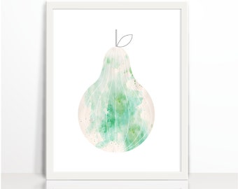 Kitchen Printable, Pear, Watercolor, Digital, Geometric Green Pear Fruit, Art Printable, geometric art, original art