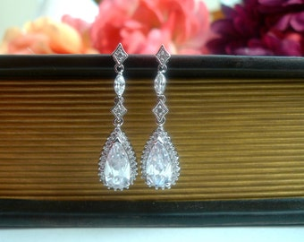 Teardrop Wedding Earrings, Drop Bridal Earrings, Wedding Accessories, Chandelier Earrings