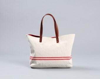 Beach tote bag, summer tote bag, woman tote bag, summer handbag, beach bag, red striped bag, Tote bag, canvas tote bag, Leather handle Lagut