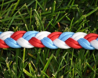Light Blue/Red/White Paracord Dog Leash