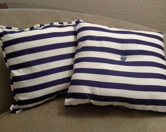 One of a kind set of blue and white striped pillows