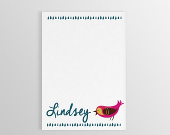Bird Notepad ~ Personalized Bird Stationary ~ Name with Bird Notepad ~ Custom Stationary ~ To Do List ~ Custom Gift ~ Gift for Kids