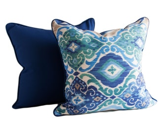 OUTDOOR PILLOW COVERS - Contemporary Design Outdoor Pillow Cover w/Zipper and Trim (Piping) - Blue Outdoor Pillow Cover - Teal Pillow Cover