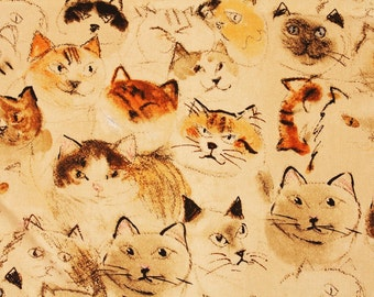 """Manhattaner's Fabric made in Japan, Cat Fabric / FQ 45cm by 53cm or 18"""" by 21"""""""