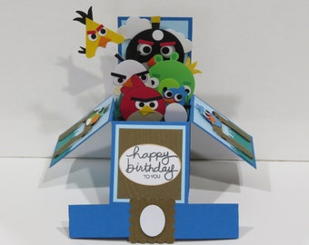 3D Pop Up Handmade Card Happy Birthday Angry Birds  made with Stampin Up cardstock punch MUST SEE super cute!