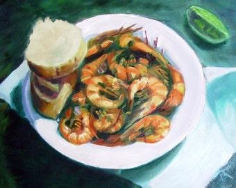"Fine art print of an original oil painting titled ""Momma's shrimp"""