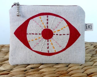 Embroidered Eye PURSE / POUCH / COIN - Screen Printed - Handmade