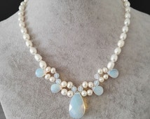 Pearl necklace- fresh water pearl, rice pearl, pearl necklace, opal pearl necklace, opal pendant