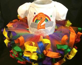 Custom appliqued rainbow bodysuit with coordinating tutu