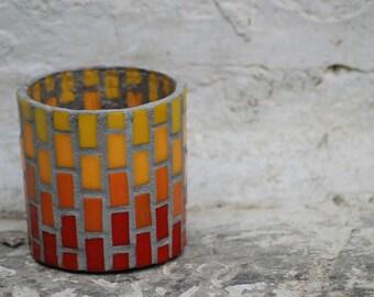 Mosaic red brick tealight holder