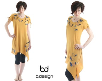 Asymmetrical tunic with butterflies