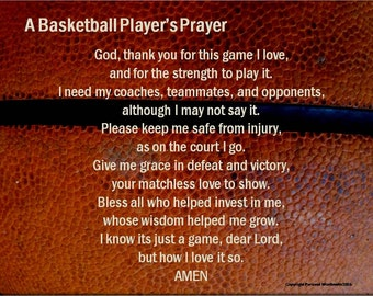 Basketball Player's Prayer, Basketball Poem, Basketball Prayer